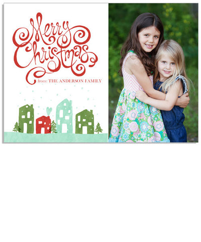 Colorful Christmas 7x5 Flat Card and Address Label