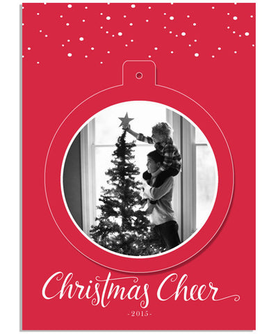 Deck the Halls Ornament 5x7 Circle Luxe Pop Card