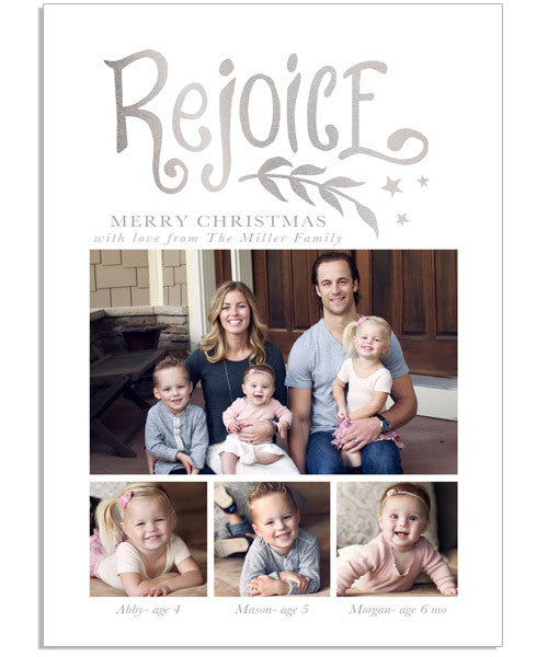 Family Christmas 5x7 Rejoice Foil Press Card