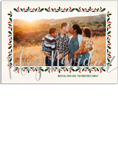 Feliz Berries 7x5 Feliz Navidad Foil Press Card, Address Label and Circle Sticker