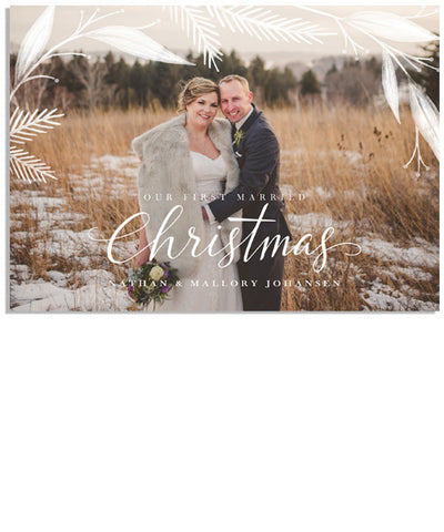First Married Christmas 7x5 Flat Card