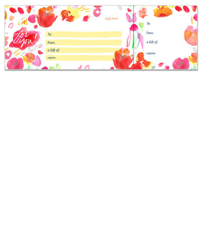 Flower Gift Certificate 12x4 Perforated Flat Card