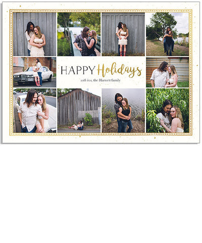 Golden Holiday 7x5 Classic Frame Foil Press Card