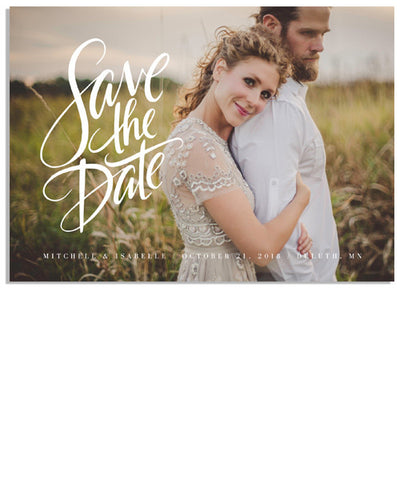 Hand Lettered Save the Date 7x5 Flat Card