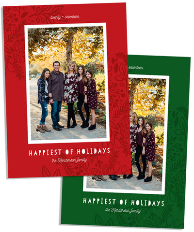 Happiest Holiday 5x7 Flat Card, Address Label and Circle Sticker