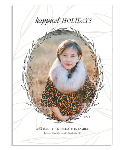 Happiest Wreath 5x7 Blooming Circlet Foil Press Card