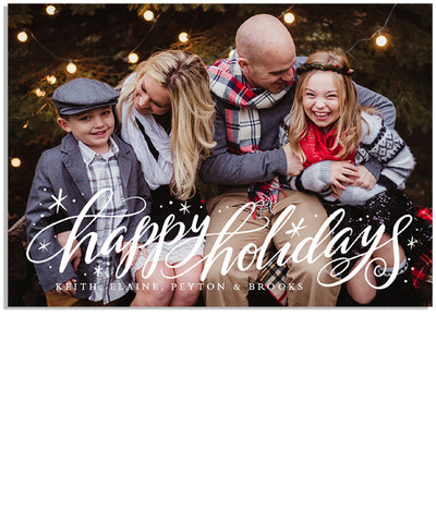 Happy Holidays Sparkle 7x5 Flat Card and Address Label