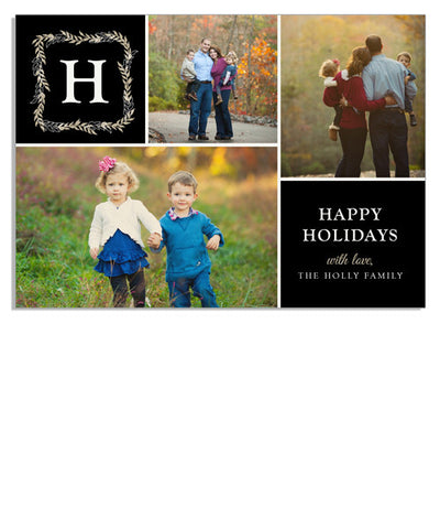 Holiday Monogram 7x5 Flat Card