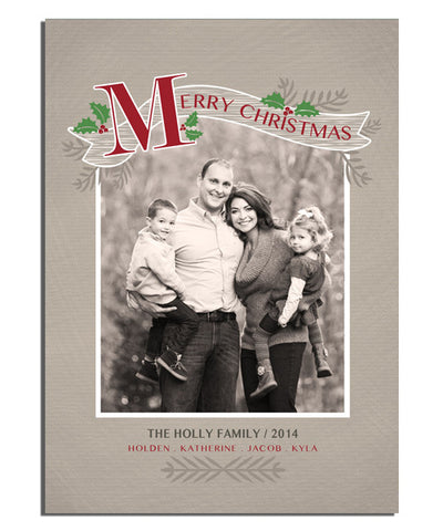Holly Banner 5x7 Flat Card