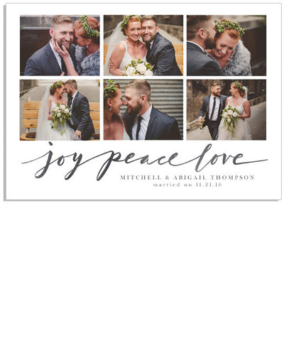 Joy, Peace, Love 7x5 Flat Card