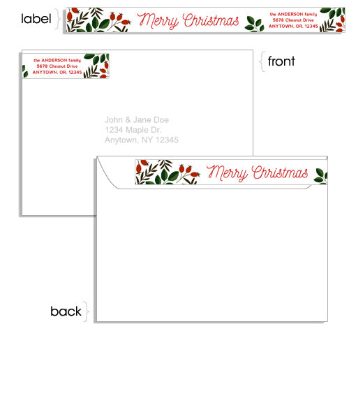 joyfilled season 5x7 dappled box foil press card address label and