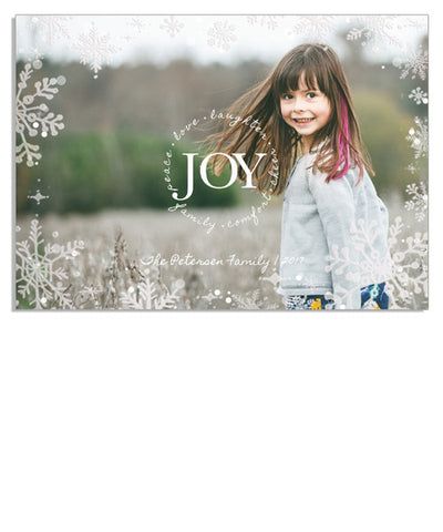 Joyful Snow 7x5 Snowflake Border Foil Press Card