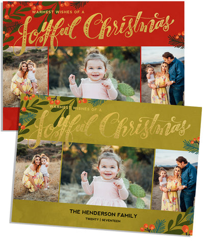 Joyful Wish 7x5 Joyful Christmas Foil Press Card, Address Label and Circle Sticker