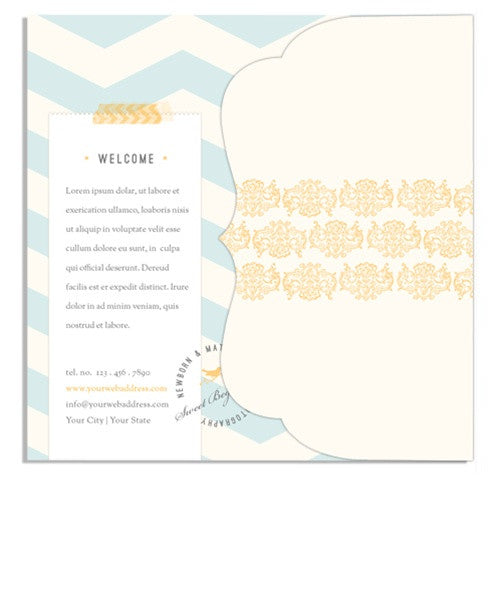 Little Boy Blue Welcome Brochure 5x5 Side Folded Luxe Card