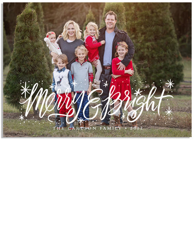 Merry and Bright Sparkle 7x5 Flat Card and Address Label