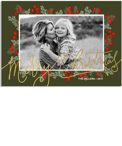 Merry Berries 7x5 Christmas Scrawl Foil Press Card, Address Label and Circle Sticker
