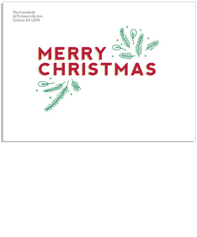 Merry Branches 7x5 Printed Envelope
