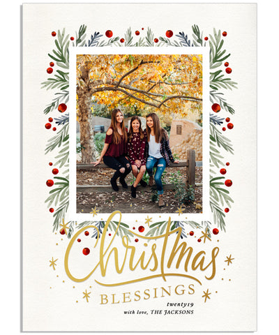 Merry Christmas Trim 5x7 Starry Blessings Foil Press Card, Address Label and Circle Sticker