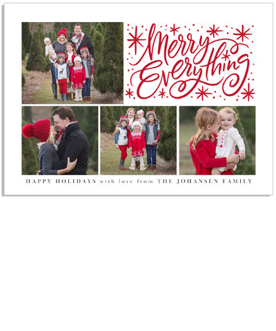 Merry Everything Sparkle 7x5 Flat Card and Address Label