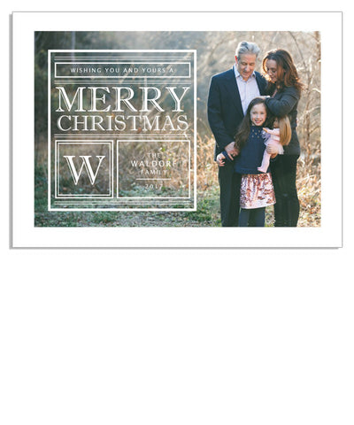 Merry Monogram 7x5 Flat Card