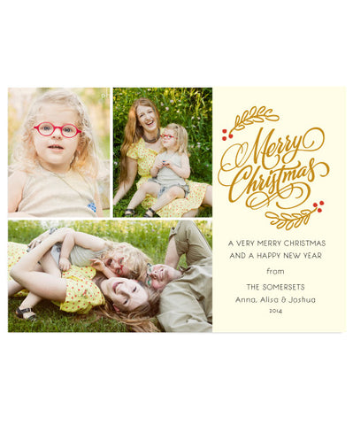 Holiday 3 Photo Merry 7x5 Flat Card, Address Label and Envelope Liner