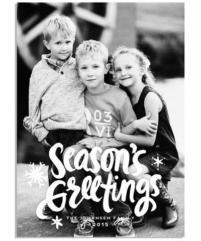 Painted Season's Greetings 5x7 Flat Card and Address Label