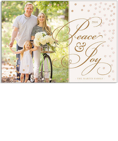 Romantic Peace and Joy 7x5 Dots Foil Press Card