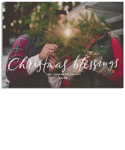 Script Christmas Blessings 7x5 Flat Card