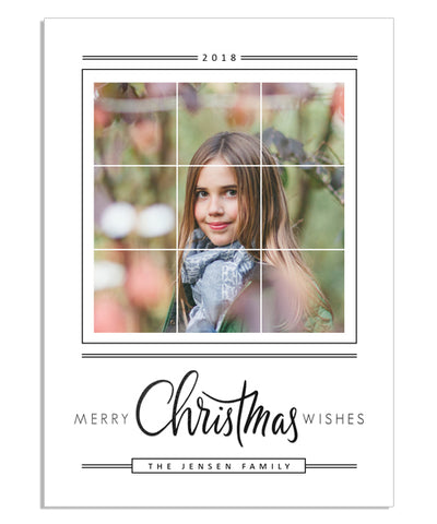 Simple Christmas Grid 5x7 Merry Wishes Foil Press Card