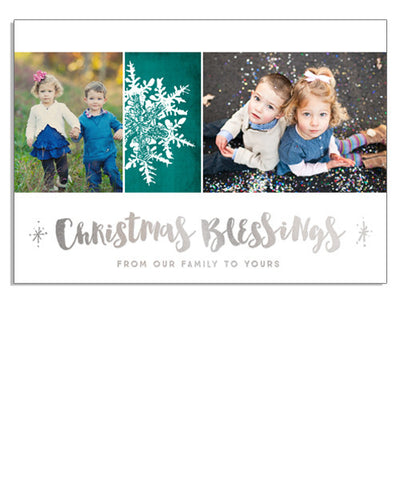 Snowflake Blessings 7x5 Christmas Blessings Foil Press Card