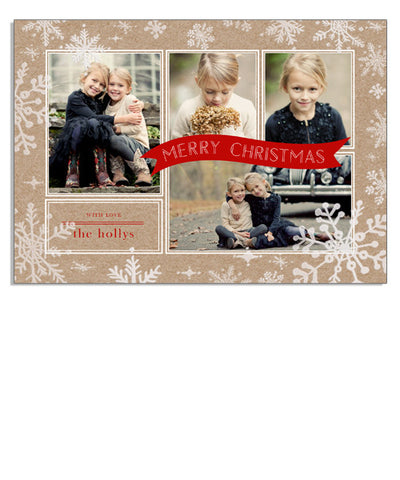 Snowy Kraft 7x5 Snowflake Boarder Foil Press Card