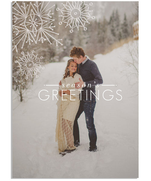 Snowy Season's Greeting 5x7 Artful Snowflakes Foil Press Card