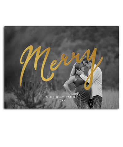 Traditional Time 7x5 Merry Foil Press Card