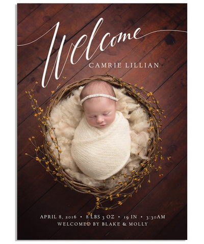 Welcome Script 5x7 Flat Card