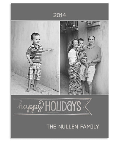 Happy Holidays 5x7 Happy Banner Foil Press Card and Envelope Liner