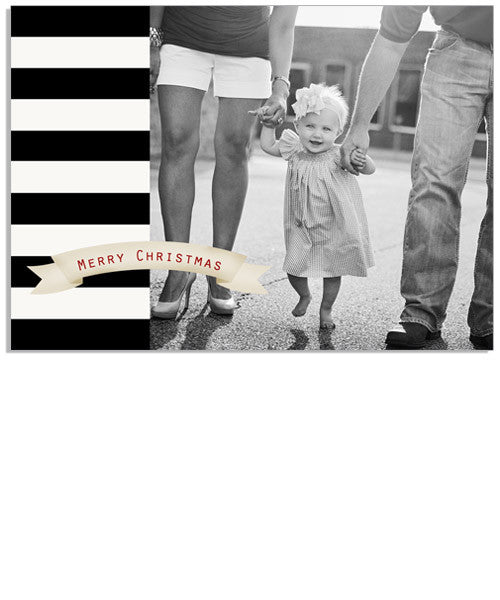 Holiday Stripe 7x5 Flat Card and Address Label