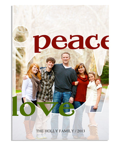 Peace, Joy, Love 5x7 Flat Card
