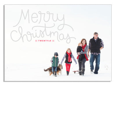 Merry Christmas Scripted 7x5 Flat Card