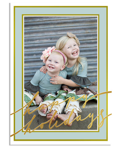 Tiffany Vertical 5x7 Holiday Cursive Foil Press Card