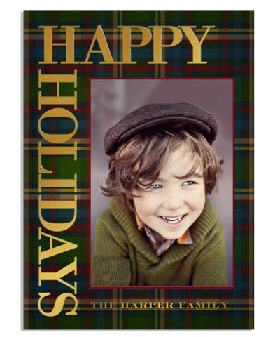 Tart Plaid 5x7 Holiday Cheer Vertical Foil Press Card