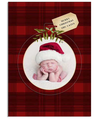 Buff Plaid Tag 5x7 Circle Luxe Pop Card