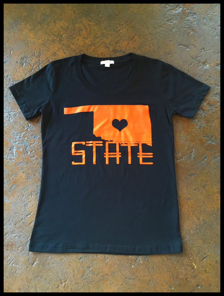 State Love Crew neck loose fit tee- OK State