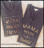 Mama Long Sleeved Charcoal V-neck Tee