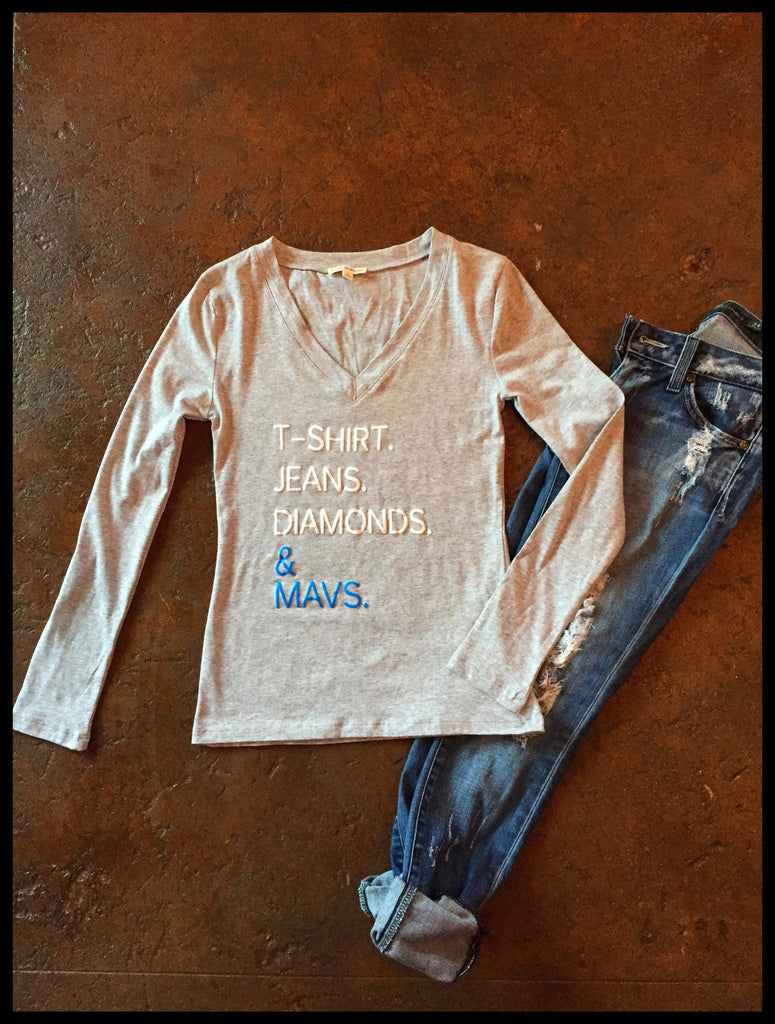 T-shirt. Jeans. Diamonds. & Mavs. Heather Grey Long Sleeve Fitted V-neck