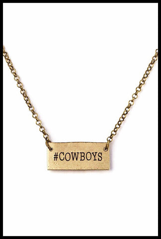 Gold Hashtag Cowboys Necklace