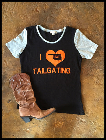 I Love Oklahoma ST Tailgating Retro Cap Sleeve Tee