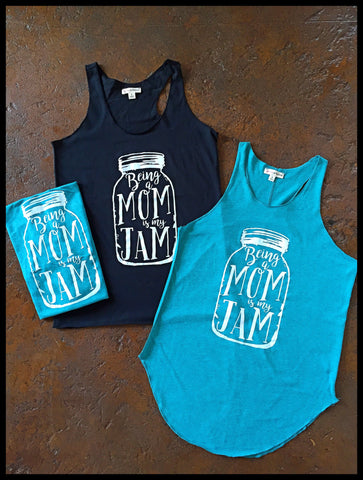 Being A Mom Is My Jam Racer Back Tank-Black/Jade