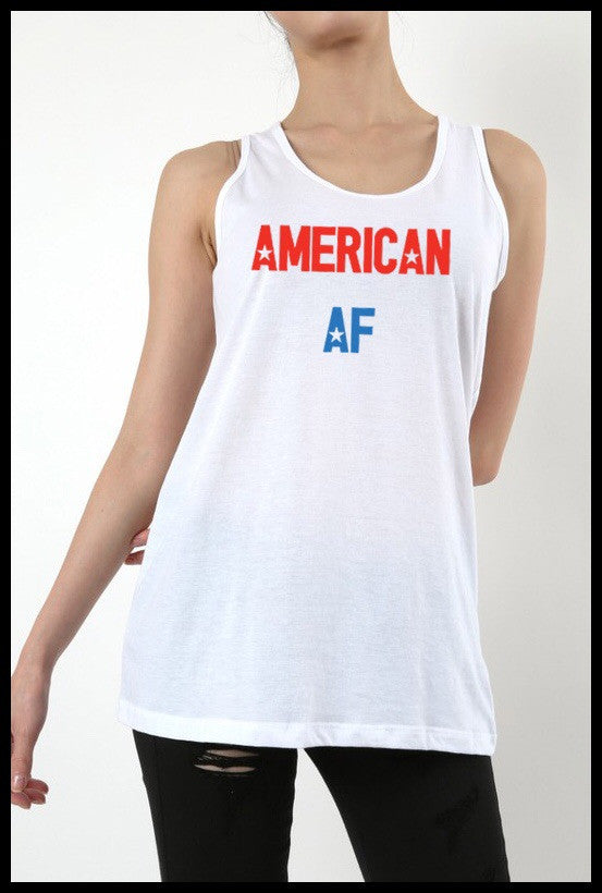 American AF Key Hole Open Back Tank- Avail In White/Navy