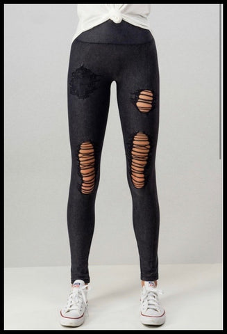 Distressed Denim Look Moto Leggings