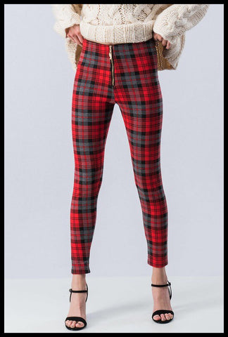 Zip Front Red Plaid Check Legging